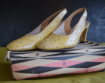 Faux Ostrich, Patent Leather Shoes by Miss Holmes UK6
