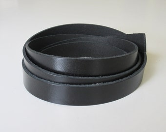 "1"" or 3/4"" Genuine Leather Strip Strap, Black Leather Strap, Premium Leather Strip, Leather Strapping"