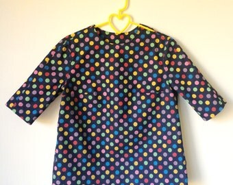 Dark blue denim top with colorful dots