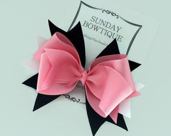 Pink Hair Bow, Stacked Boutique Bow, Boutique Bow, Pink Black White Hair Bow, Halloween Hair Bow, Pink Hair Bow, Pink Boutique Bow