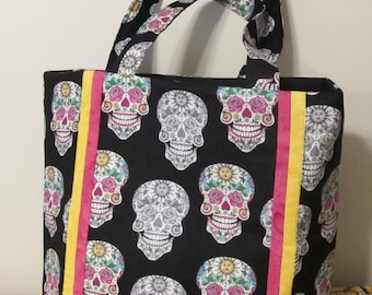 Quilted skull tote ready to ship
