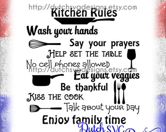 Text cutting file Kitchen Rules, in Jpg Png SVG EPS DXF for Cricut & Silhouette, kitchen svg, dinner svg, cook svg, family svg, cooking svg