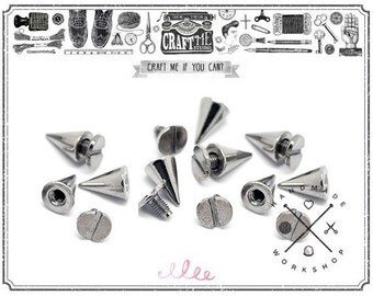 10SETS 10X15MM Silver Tone Cone Spikes Screwback Studs Leathercraft Decorations Findings.