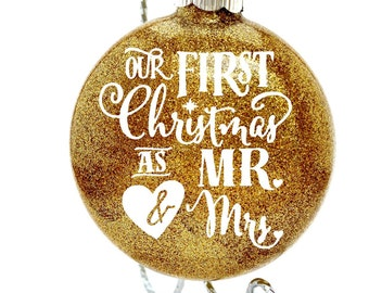 Christmas Ornaments - Glass Christmas Ornament - Decorations for Christmas - Mr and Mrs Glitter Christmas Ornament - Gifts under 20