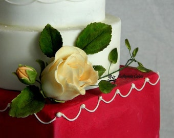 Sugar Gum paste flowers for cakes rose open bud any colour
