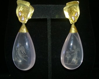 Miye Matsukata Earrings of Gold, Pearls, and Rose Quartz