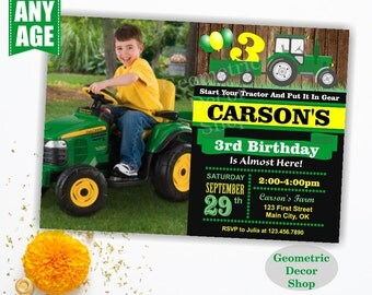 Tractor Fall Birthday Invite Tractor Fall Invitation Tractor Birthday Invite Pumpkin Patch Green Yellow Farm Boy Photo Photograph BDT12