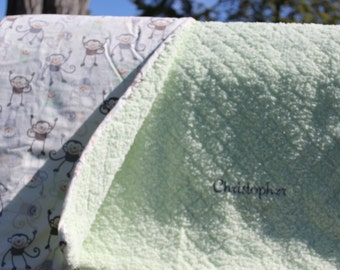 Soft Minky and Flannel baby blanket 36x42
