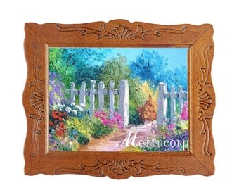 dollhouse 1:12 Scale Miniature Picture Road fence beautiful scenery