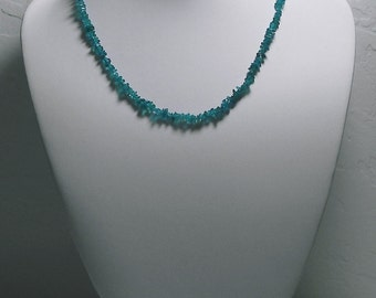 Neon Blue Apatite Necklace 16.5inch 47.75ct