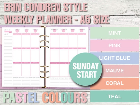 Erin Condren style printable weekly planner - A5 size - PASTEL VERSION ...