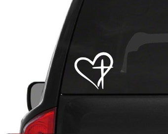 Heart Cross White (R10) Vinyl Decal Sticker Car Window