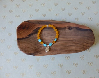 Yellow and Turquoise Reversible Charm Beaded Bracelet