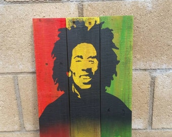 Wall Art Home Decor Bob Marley on Reclaimed Wood Recycled