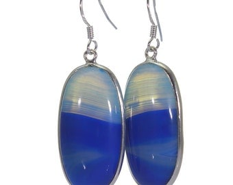 Blue Banded Agate Earrings, 925 Sterling Silver, Unique only 1 piece available! color blue, weight 10g, #40724