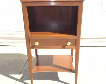 kindel oxford mahogany high lag lamp end table night stand pull out tray