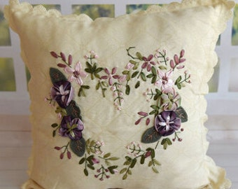 "DoLaMi | Silk Ribbon Embroidery | Hand Embroidered Pillow Cover 16""x16""-white"