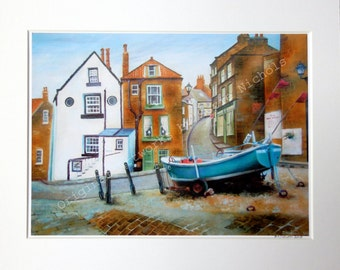 Robin Hood's Bay Giclee Print A4 Quality Mounted Print of Robin Hood's Bay, Yorkshire UK - by Artist Suzie Nichols (art, painting, uk)