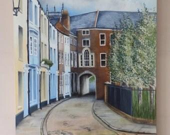 Painting of Prince Street Hull - Original Oil Painting of Prince St by Suzie Nichols (Hull UK East Yorkshire terrace georgian street scene)