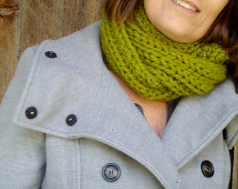 Hand Knit Infinity Cowl Scarf made in New Hampshire THE DOVER 30 colors