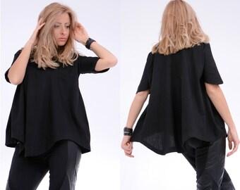 Black Tunic/ Asymmetric Top/ Maxi Tunic/ Oversize Top/ Loose Black Top/ Oversize Tunic/ Short Sleeve Top/ Maxi Top/ Plus Size Top