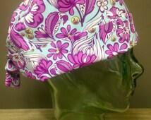 Retro Aqua & Purple Flower Pattern Surgical Scrub Hat, Women's Floral Pixie Scrub Hat, Custom Caps Company