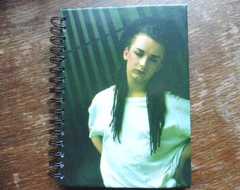 Boy George Upcycled Hardback Notebook 80s Pop New Romantic Culture Club