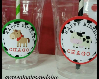 12 Personalized  Farm Animal Party Cups with Striped straws and Lids, Barnyard Bash Party Cups, Farm Babyshower Cups