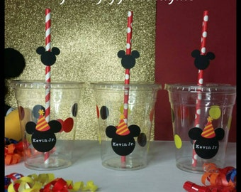 12 Personalized  Mickey Inspired Cups w/ Lids and Straws w/Mickey Heads!,  Mickey Cups with Name and Fun Straws,