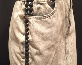 Studded 1980's Acid Wash Skirt