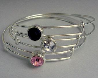 SALE Rhinestone. Crystal Adjustable Bangle / Bracelet Stack able Bangles / Gift For Her / Under Twenty Usa BS1