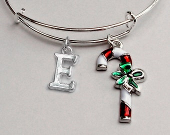 CANDY Cane CHRISTMAS Bangle W Initial - Adjustable BANGLE -Personalize Your Expandable Bracelet - Gift For Her  Under 20 Usa  W1