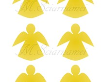 Decor- Angels-printable-Christmas-Toppers-Cupcake-Silhouette-Instant Download-Gold-Angel-Clipart-decoration