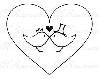 Wedding-Decor-Instant Download-Birds-Black-White-Color-Scrapbook-Clip art- Love-Digital Image-Digital