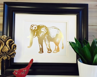 Gold Elephant, Elephant Nursery, Elephant art print, Wall Art, Gold Foil print, Elephant Decor,