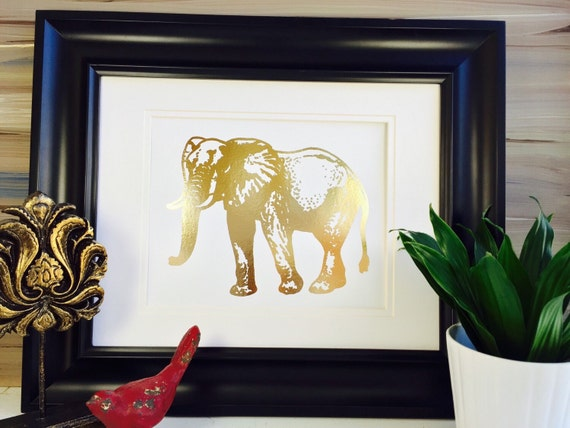 Gold Elephant Wall Decor : Elephant wall art print gold foil nursery
