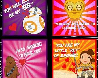 Star Wars Valentines Card Instant Download Printable PDF. Sci Fi valentines.