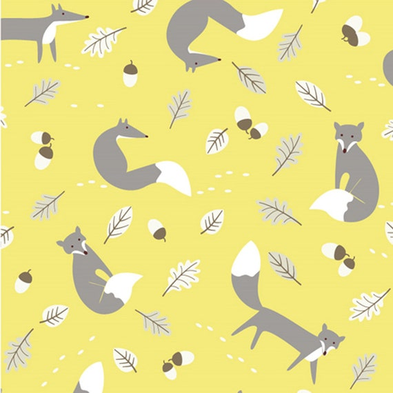 Mr fox print fabric yellow grey linen look 100 cotton for Fox print fabric