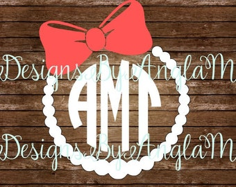 SVG  Cute Pearl Necklace & Bow Monogram Initials SVG Digital cutting file  Instant Download JPG- Use on your cutting machine