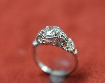 Antique 18K .80CT.Filigree Engagement Ring