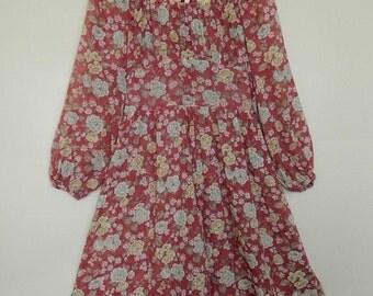 Vintage 70's Sheer Floral Boho Hippie Prairie Bohemian Dress