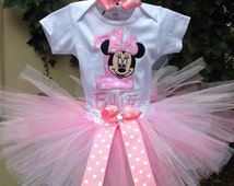 Pink Minnie Mouse 1st Birthday Outfit Onesie Tutu and FREE Hair Bow