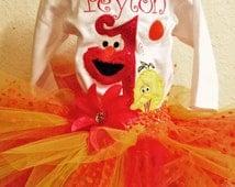 Sesame Street 1st Birthday Outfit Onesie Tutu and FREE Hair Bow Primary Red Orange Yellow Big Bird Elmo
