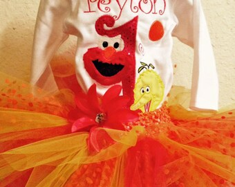 Sesame Street 1st Birthday Outfit Big Bird 1st Birthday Outfit Elmo 1st Birthday Outfit Big Bird Shirt Elmo Shirt Big Bird Birthday Shirt