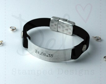 Hand stamped personalised leather cuff, men's leather bracelet, woman's leather bracelet, custom bracelet cuff