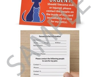 Emergency Pet Care Card