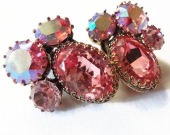 Vintage Austria Rhinestone Earrings, Pink Aurora Borealis Clip On