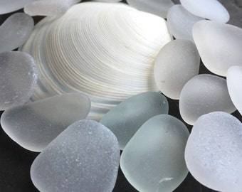 20 Pieces of White Sea Glass For Jewlery Making