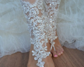 Ivory Silver Lace Barefoot Ivory Lace Anklet Silver lace barefoot lace barefoot sandals france lace barefoot Beach wedding barefoot sandalss