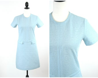 60's Scooter Dress / Mod Mini Dress Space Age Pastel Blue Sixties Go-Go Twiggy Shift Dress / Size S Small